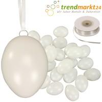 Kunststoff-Eier Set 6 cm 25 Stück + Ösen & 50m Satinband weiß