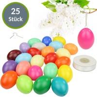 Kunststoff-Eier Bunt 6 cm 25er Pack + Aufhängeösen 50m Satinband weiß
